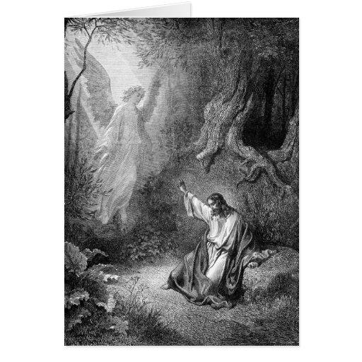 Cristo en el jardín tarjeta de felicitación