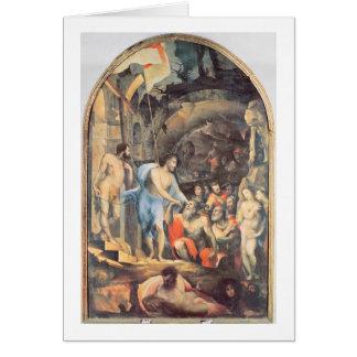 Cristo en el limbo, c.1530-35 (el panel) tarjeta de felicitación