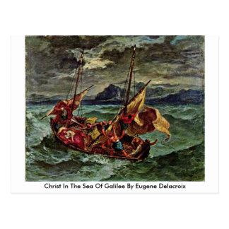 Cristo en el mar de Galilea de Eugene Delacroix Tarjeta Postal