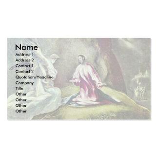Cristo en el monte de los Olivos por el EL de Grec Tarjeta De Negocio