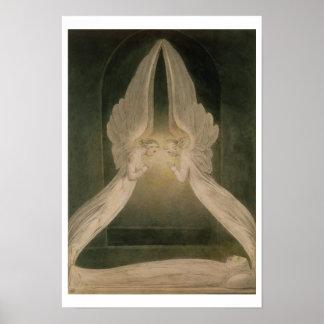 Cristo en el sepulcro, guardado por ángeles póster