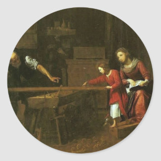 Cristo en el taller de José circa 1610-1625 Pegatina Redonda
