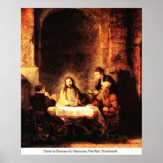 Cristo en Emmaus de Harmensz Van Rijn Rembrandt Poster