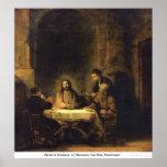 Cristo en Emmaus de Harmensz Van Rijn Rembrandt Póster