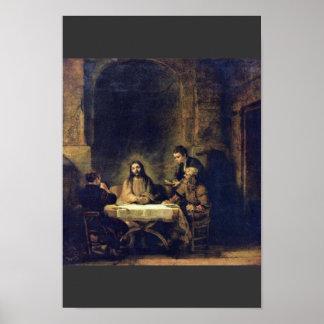 Cristo en Emmaus de Rembrandt Harmensz Van Rijn Poster