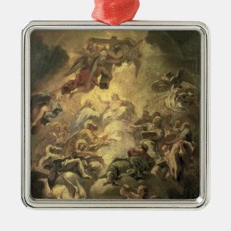 Cristo en gloria adorno navideño cuadrado de metal