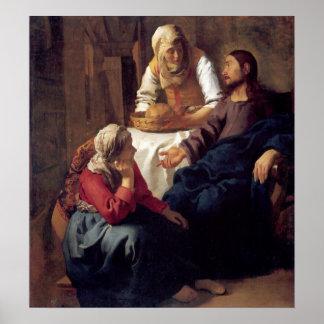 Cristo en la casa de Maria y de Martha Poster