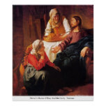 Cristo en la casa de Maria y de Martha por Vermee Poster