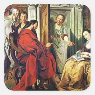 Cristo en la casa de Martha y de Maria de Bethany Pegatina Cuadrada