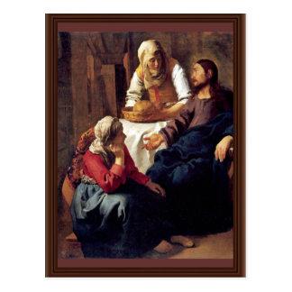 Cristo en la casa de Martha y de Maria por Vermee Postales
