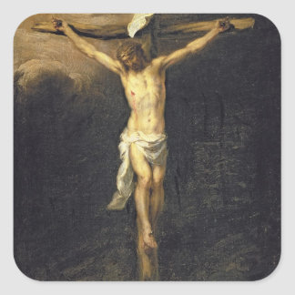 Cristo en la cruz, 1672 pegatina cuadrada