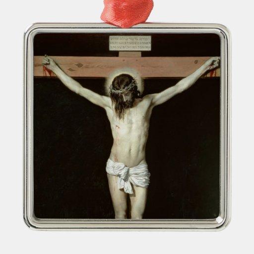 Cristo en la cruz, c.1630 adorno navideño cuadrado de metal