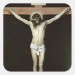 Cristo en la cruz, c.1630 calcomanías cuadradass personalizadas