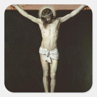 Cristo en la cruz, c.1630 calcomanías cuadradas personalizadas