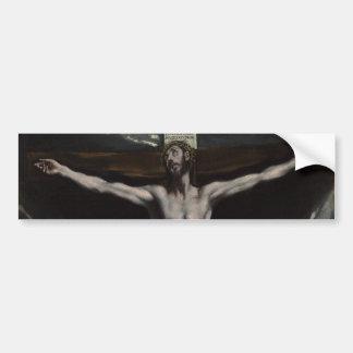 Cristo en la cruz de El Greco Pegatina Para Auto
