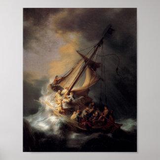 Cristo en la tormenta en el mar de Galilea Póster