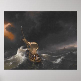 Cristo en la tormenta en el mar del poster de Gali