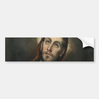Cristo en rezo de El Greco Pegatina Para Auto