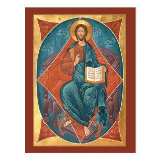 Cristo en tarjeta del rezo de la gloria postal