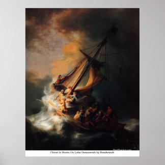 Cristo en tormenta en el lago Genezareth de Rembra Poster