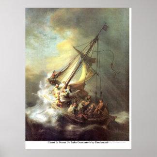 Cristo en tormenta en el lago Genezareth de Rembra Posters