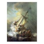 Cristo en una tormenta en el mar de Galilea - Remb Tarjeta Postal