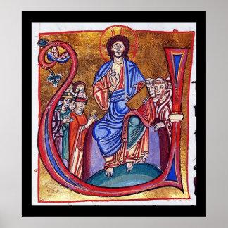 Cristo Enthroned arte religioso cristiano Póster