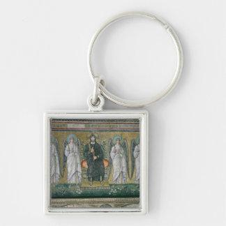 Cristo enthroned con los ángeles 2 llavero cuadrado plateado