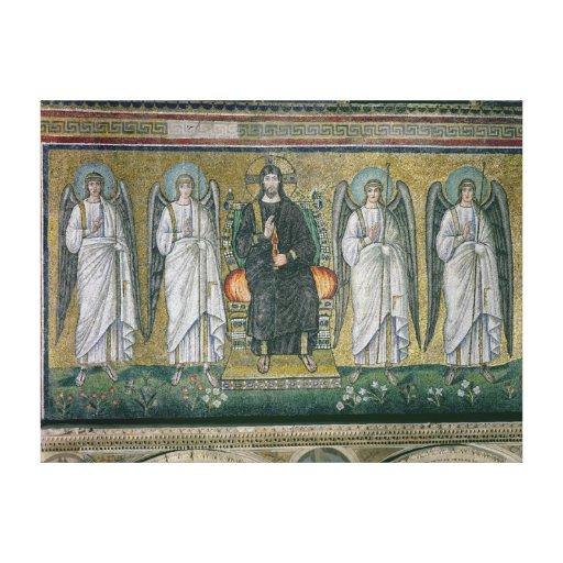 Cristo enthroned con los ángeles impresiones en lienzo estiradas