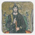 Cristo enthroned con los ángeles pegatina cuadrada