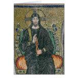 Cristo enthroned con los ángeles tarjeta de felicitación