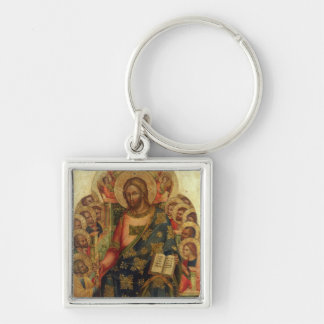Cristo Enthroned con los santos y los ángeles que  Llavero Cuadrado Plateado