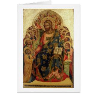 Cristo Enthroned con los santos y los ángeles que  Tarjeta De Felicitación