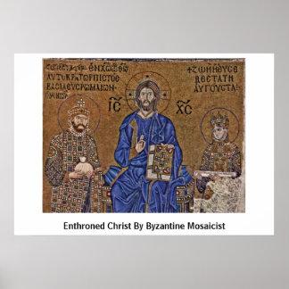 Cristo Enthroned del fabricante de mosaicos bizant Posters