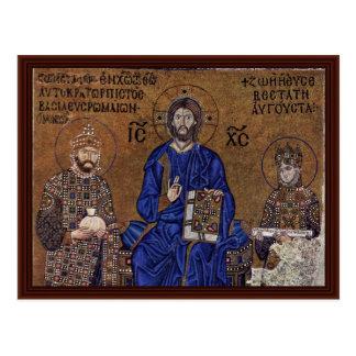 Cristo Enthroned y bendición del emperador Postales