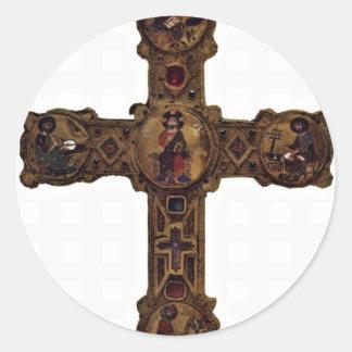 Cristo Enthroned y los cuatro evangelistas Etiquetas Redondas
