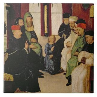 Cristo entre los doctores (aceite en el panel) azulejo cuadrado grande