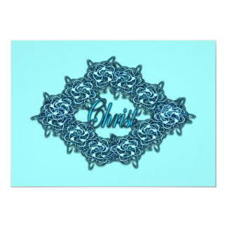 """Cristo es el centro - azul claro invitación 5"""" x 7"""""""