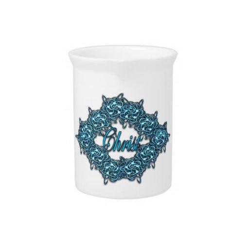 Cristo es el centro - azul claro jarra para bebida