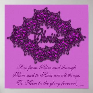Cristo es el centro - rosa de la moda póster