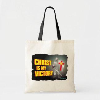 Cristo es mi diseño religioso de la victoria bolsa tela barata