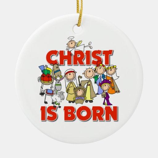 Cristo es regalo cristiano nacido del navidad de adorno navideño redondo de cerámica