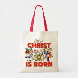 Cristo es regalo nacido del navidad bolsas