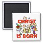 Cristo es regalo nacido del navidad iman de nevera