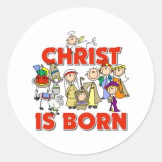 Cristo es regalo nacido del navidad pegatina redonda