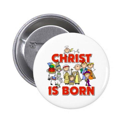 Cristo es regalo nacido del navidad pin redondo de 2 pulgadas