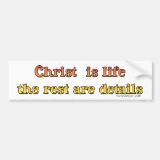 Cristo es vida etiqueta de parachoque