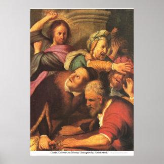 Cristo expulsa los cambiadores de dinero de póster