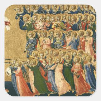 Cristo glorificó en la corte del cielo pegatina cuadrada