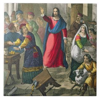 Cristo limpia el templo, de un b impreso biblia azulejo cuadrado grande